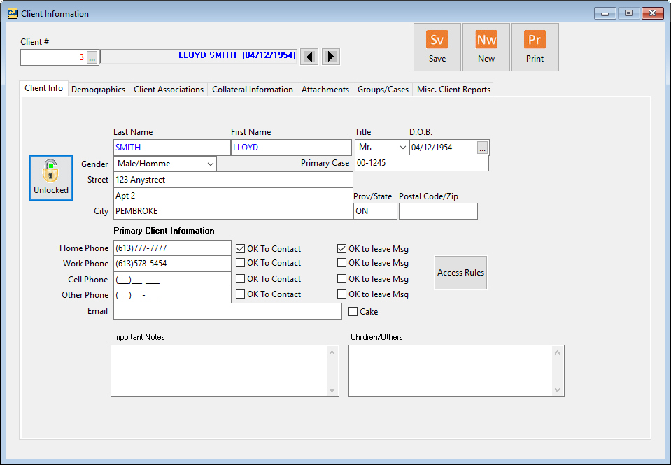 Counselling Software Screenshot